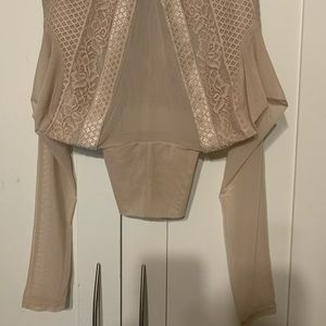Stunning mesh and lace blouse blush color